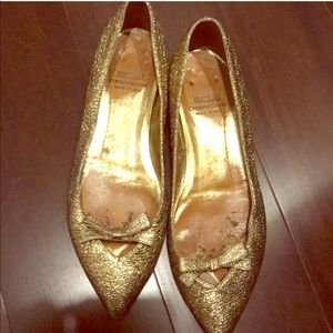 Moschino Metallic Gold Peep Toe  Flats /Pumps